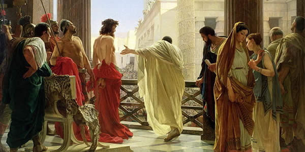 pontius pilate presenting jesus to the crowds