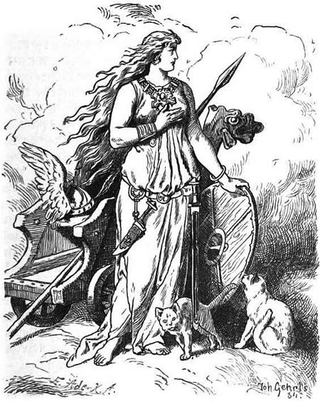 The goddess Freya rests her hand upon a shield.