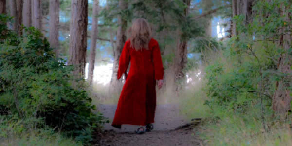 a woman in a red dress walking on a trail in a forest