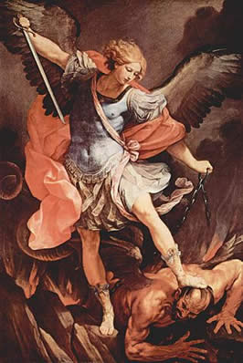 the archangel Michael steps on the back of a defeated Satan