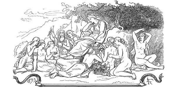 a pencil drawing of women relaxing