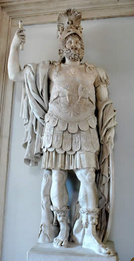 a marble statue of a god in Roman armor