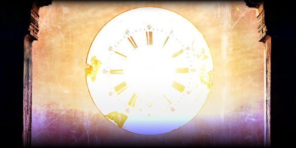 an old clock face on a golden background