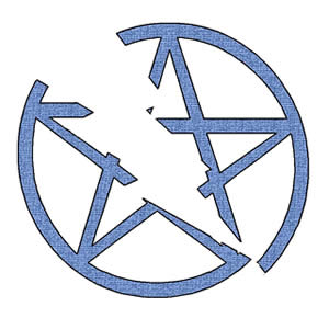 a broken, five-pointed star in a circle