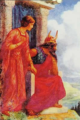 a seated Oden with Frigg standing at his right hand as they look into the distance
