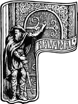 Odin in a traveller's cloak knocks on a door