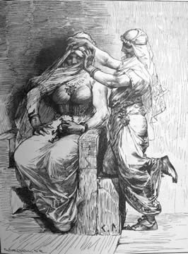 a illustration done with pencils of two men dressing as women