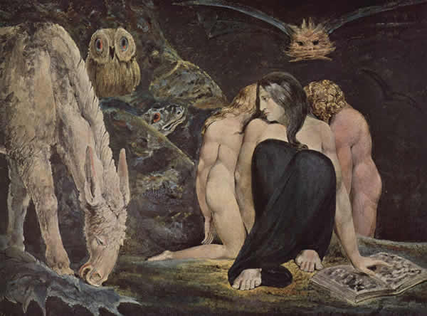 a painting by William Blake depicting a triple-formed figure, Hekate, a horse, and an owl
