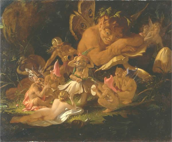 a group of fairies relaxing in a forest glade