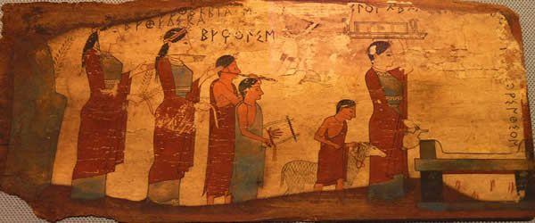 a painting of a ancient family dressed formally in robes leading a sheep to an altar
