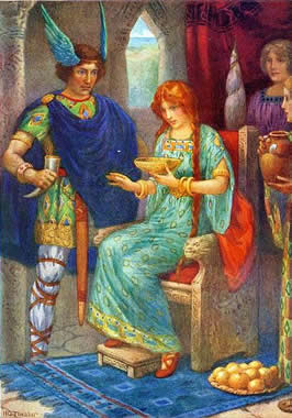 a woman, Gerda, sits on a throne while a man, Skyrnir, stands at her right hand
