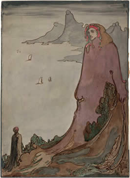 an illustration of a giant woman in robes looking down on a much smaller masculine figure in the foreground