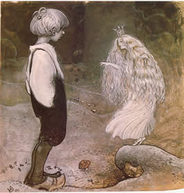a young boy confronts a fairy queen
