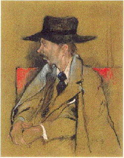 a man dressed in a brown suit and over coat wearing an old, dark hat
