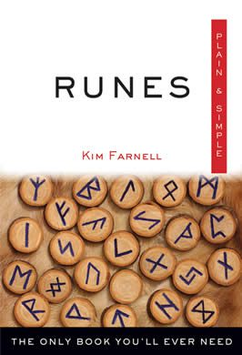 the cover of a book, its title on the top half, with runes on wooden chips on the bottom