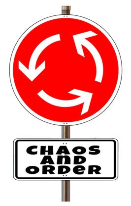 """a red sign showing arrows pointing in a circle with the words """"chaos and order"""" below it"""