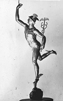 a statue of a naked Mercury holding the Cadeseus staff wearing his winged helm and sandles