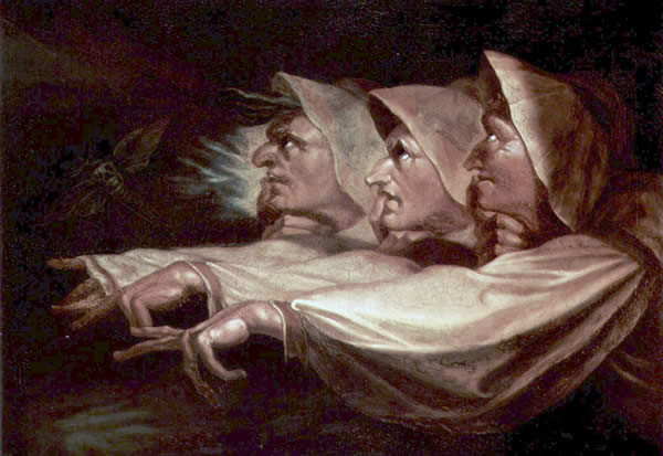 three cloaked women stand and point to the left of the painting with stern looks upon their faces