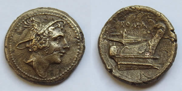 two photographs of a coin -- one of each side -- one which depicts Mercury