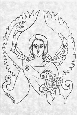 a thin line drawing of a woman with wings