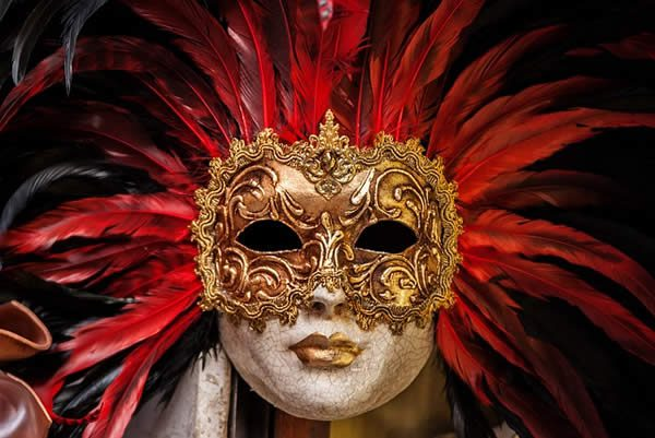a Venetian mask surrounded by red feathers