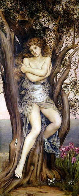 a female wrapped in cloth about her waste covering her chest with her arms seated in a tree