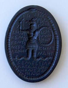 A Late Antique Gnostic Abraxas stone, used as an amulet or magical charm.