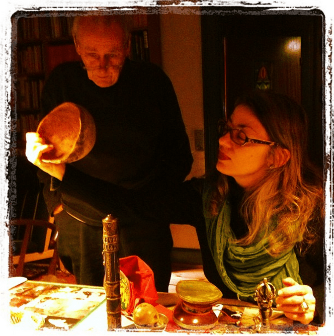 K. Frank Jensen and Camelia Elias in the company of dead Tibetan monks, their skulls, and their sacred objects.