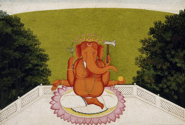 Painting of Ganesh from the Brooklyn Museum.  (Unknown Artist, created 1770-1805)  From WikiMedia