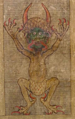 a humanoid figure with claws and talons and a green face snorting fire
