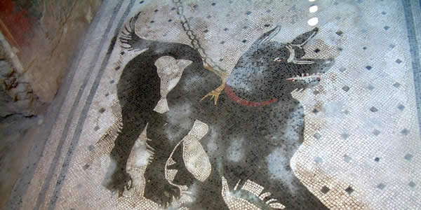 a mosaic of a black dog with a red collar