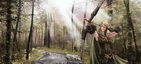 a female elf dressed in leather armor draws a bow