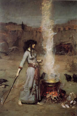 a woman with a wand stands next to a steaming cauldron