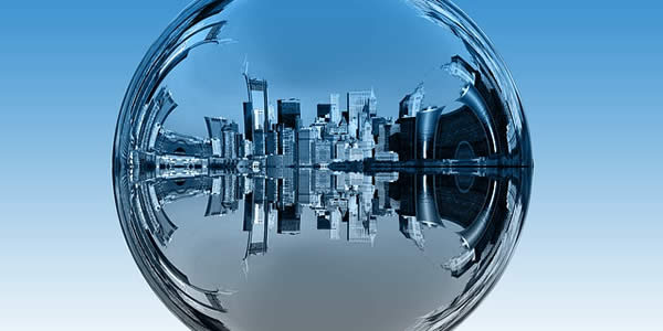 a cityscape digitally manipulated to appear as if in a drop of water