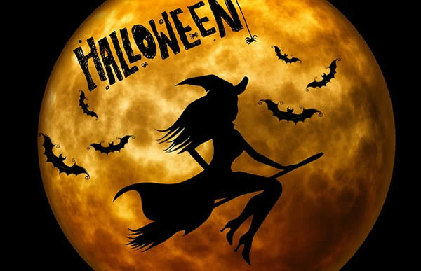 "a silhouette of a woman riding a broom in front of the full moon with the words ""Happy Halloween"" above them"