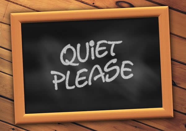 "a digital representation of a chalk board with the words ""Quiet Please"" written on it"