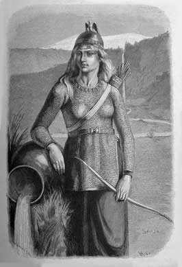 a woman holding a bow wearing chainmail