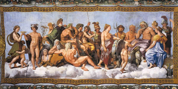 a painting of the greek pantheon of gods and goddesses
