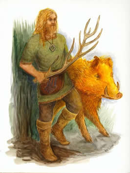 freyr dressed casually in trousers and green tunic with his golden hog