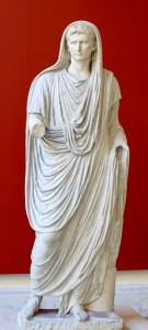 Emperor Augustus dressed in the robes of the Pontifex Maximus.