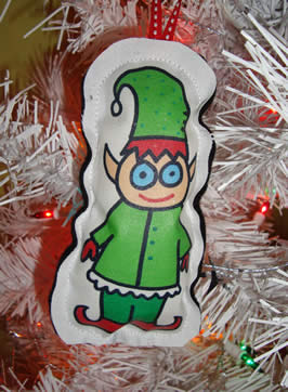 an cartoon elf on a christmas tree ornament