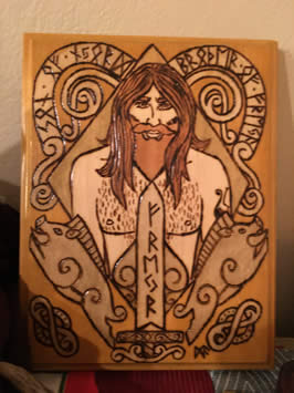a stained woodcut of freyr