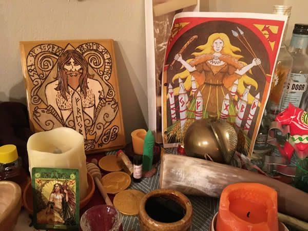 The author's Gerd and Freyr altar / Photo by the author