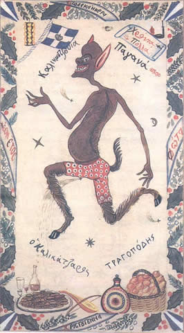 a brown skinned, goat-footed figure with bat like features