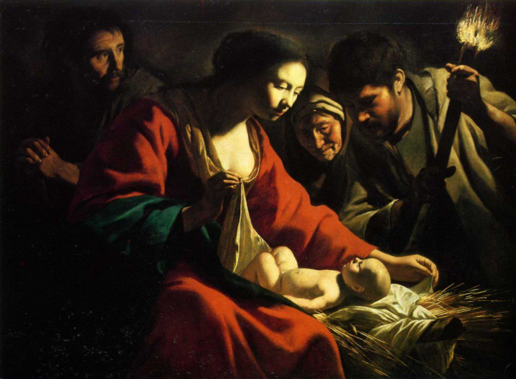 an image of the infant Jesus being swaddled by Mary as Joseph and others look on