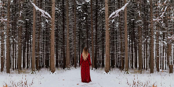 a woman in a red dress stands before a forest in the snow