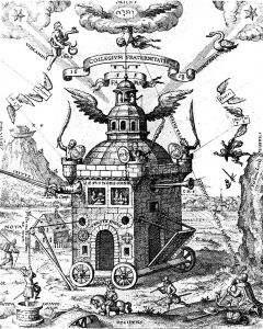 """The Temple of the Rosy Cross is depicted on wheels, suspended from heaven by a cord, and surrounded with emblems relating to the foundation of the Society."""