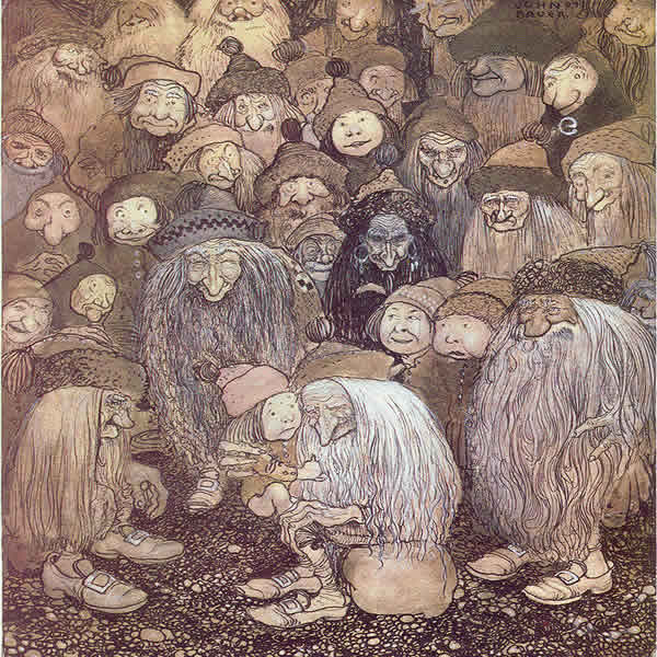 a number of ugly trolls and a small boy