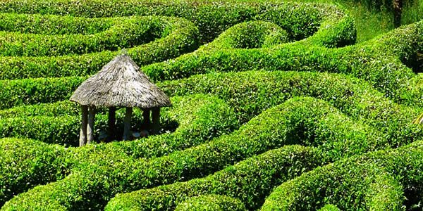 a small hut at the center of a labyrinth