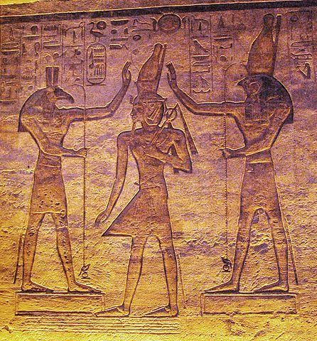 The gods Seth (left) and Horus (right) adoring Ramesses in the small temple at Abu Simbel, Chip Dawes, public domain